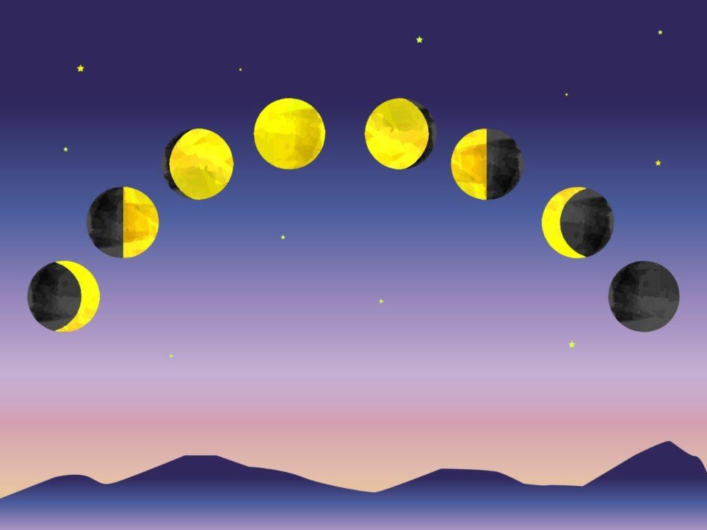 月の満ち欠けイラスト