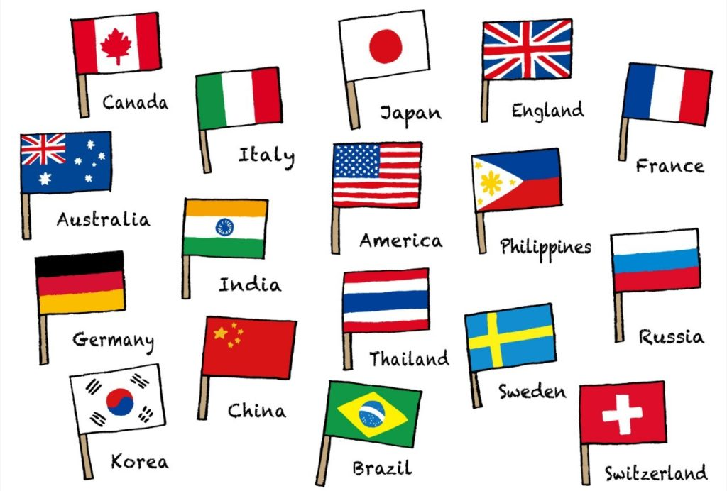 たくさんの海外の国旗のイラスト
