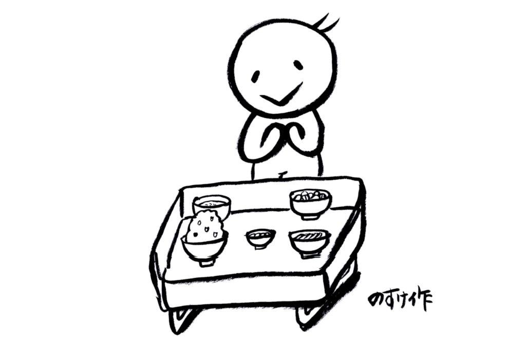 割烹料理を食べる人イラスト