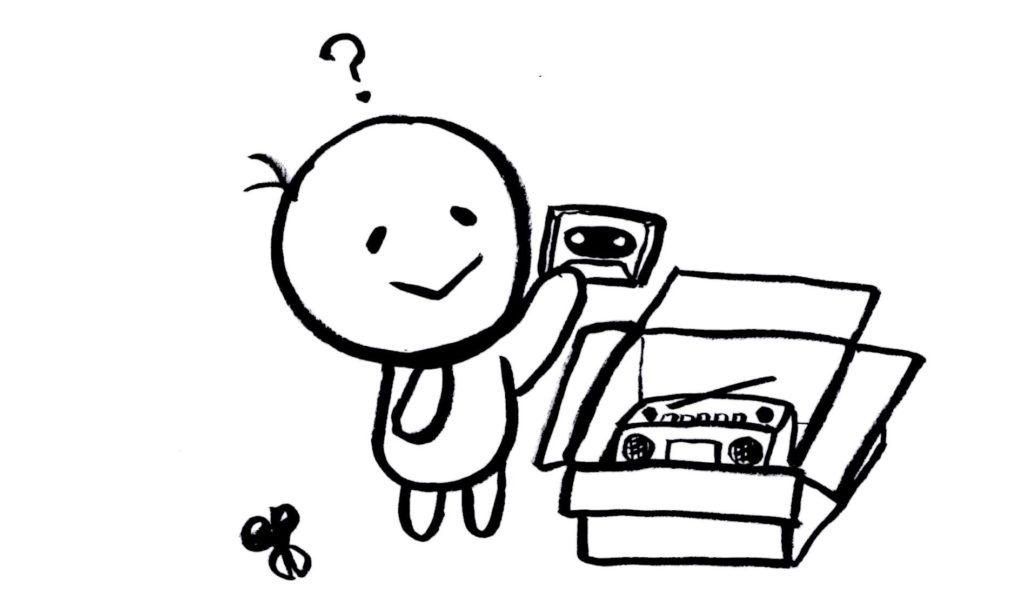 カセットテープを入れる人イラスト