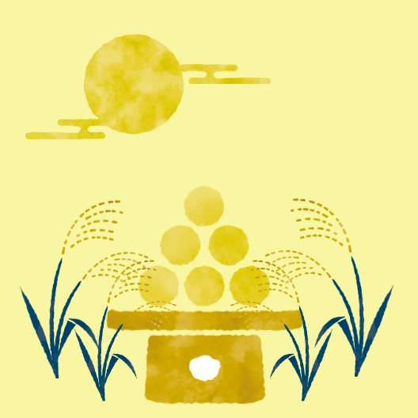 月見団子とススキのイラスト
