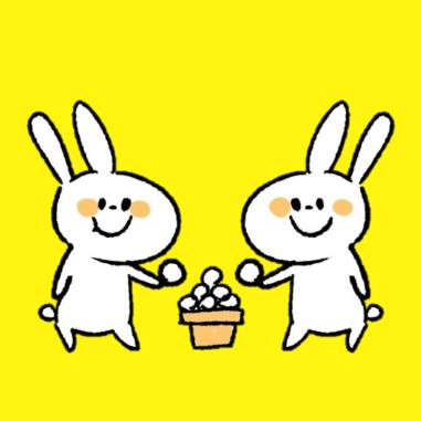 団子を食べるうさぎのイラスト