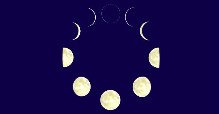 月の満ち欠けのイラスト