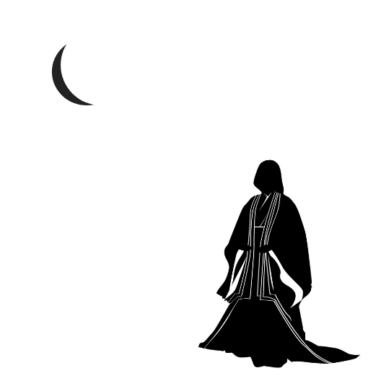 平安貴族の女性と月のイラスト