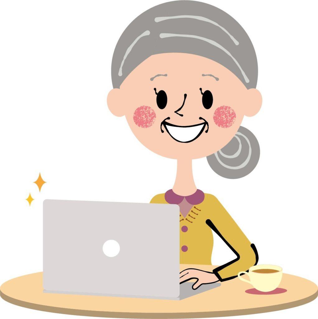 パソコンをするお婆さんのイラスト