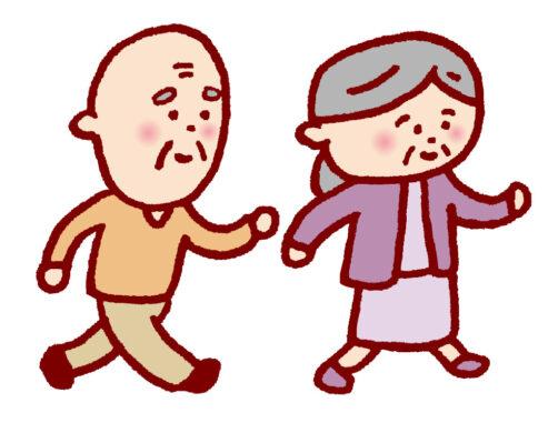 元気よく歩く老人のイラスト