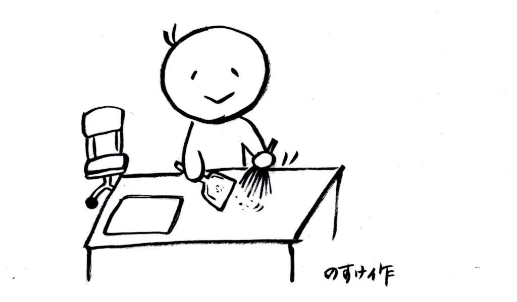 デスクの掃除をする人のイラスト