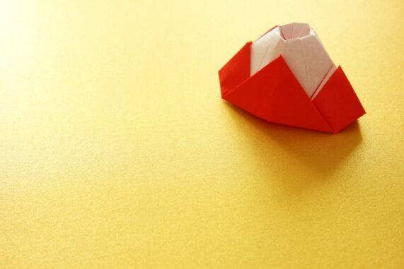 折り紙の富士山の写真