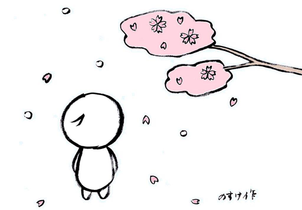 桜の季節に降る雪を見る人のイラスト