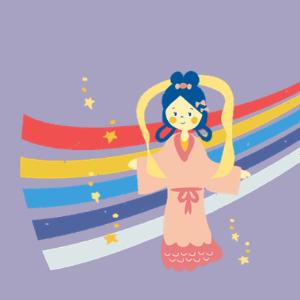 織物と織姫様のイラスト