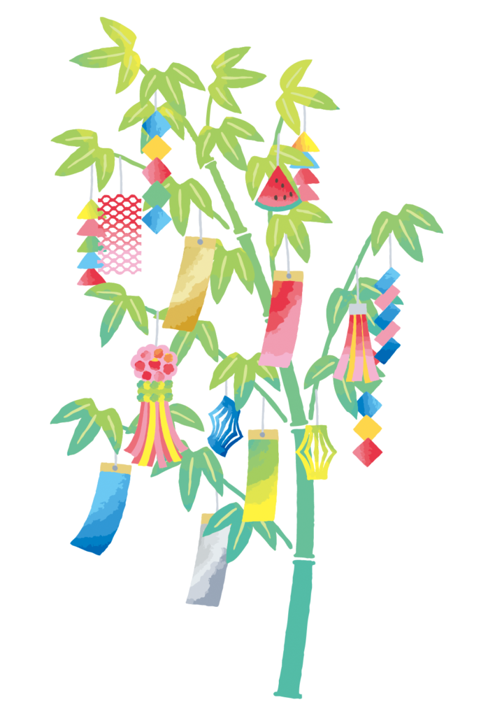 七夕飾りを吊るした笹のイラスト