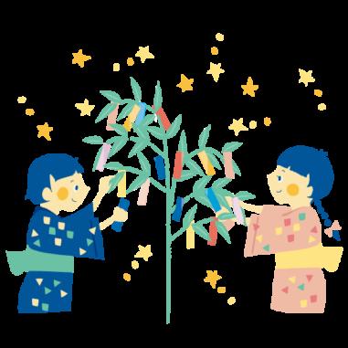 七夕の飾り付けをする子どもたちのイラスト