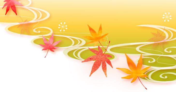 水に流れる紅葉のイラスト