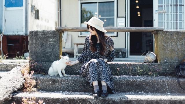 猫を撫でる女性の写真