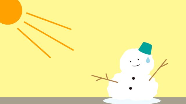 溶ける雪だるまのイラスト