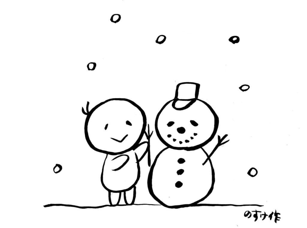 雪だるまを作る人のイラスト